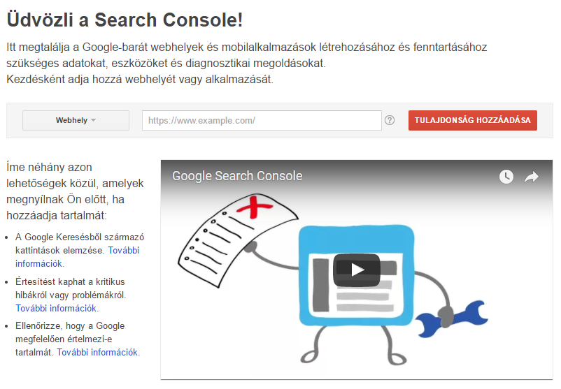Search Console regisztráció