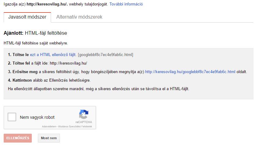 Search Console regisztráció - ellenőrzés